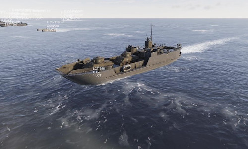 A virtual battleship in the middle of the ocean.